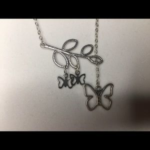 Branch, Butterfly, Hollow, Leaf, Pendant, Necklace